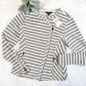 Lucky Brand Blue Striped Knit Terry Moto Jacket